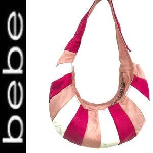 Bebe Striped Leather Shoulder Bag